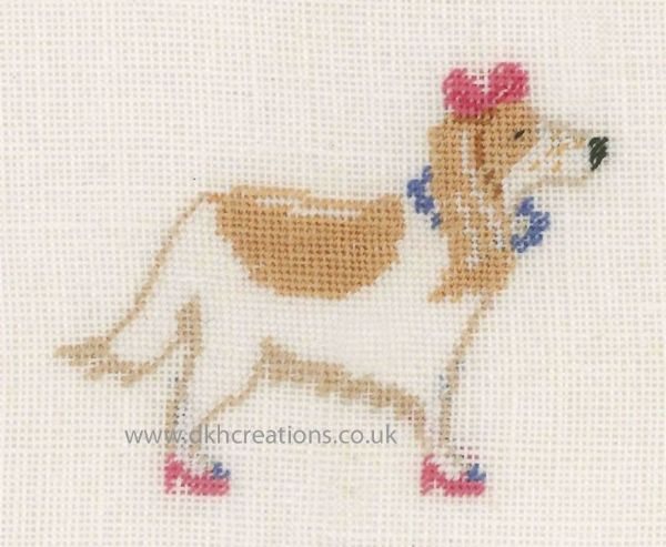 Dog With Pink Bow Cross Stitch Kit